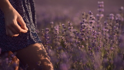 Close-up of girl's legs in lavender field