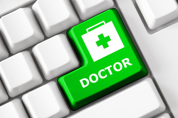 Color button on the keyboard with doctor suitcase