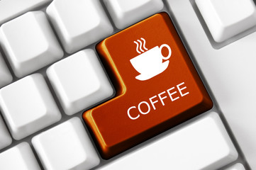 Modern keyboard Coffee text and coffee cup sign
