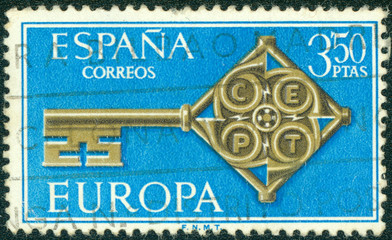 stamp printed in the Spain shows Golden Key with CEPT Emblem