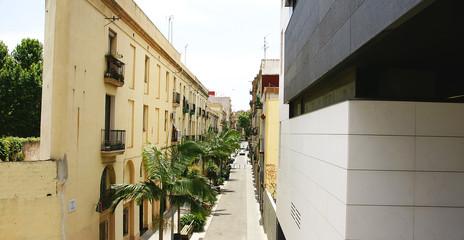 Vsta aérea de una calle en Barcelona