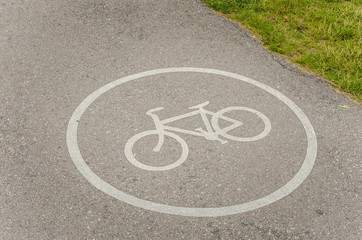 Bicycle Sign Painted on a Cycle Lane