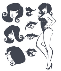 vector collection of pinup girls and faces