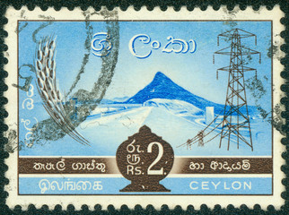 stamp printed in Ceylon shows hydro-electric power station