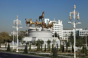 Ashgabat, Turkmenistan.  Sculptural composition of horses.