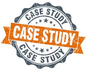 case study orange vintage seal isolated on white