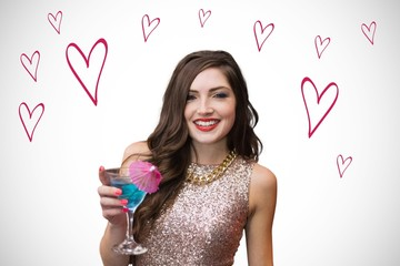 Composite image of brunette with cocktail