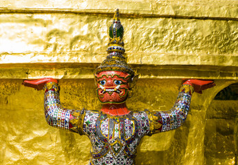 Close-up of demon guardian supporting Wat Phra Kaew, Thailand