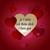 Fototapety Carte je t'aime cœur Saint Valentin offrir amour rouge