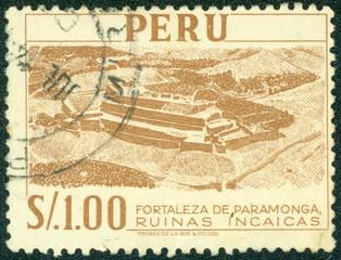samp printed in Peru shows Fortress Paramonga - Inca Ruins