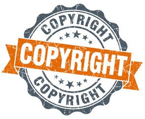 copyright orange vintage seal isolated on white