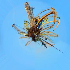 Scrap metal planet with cranes