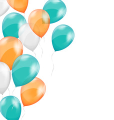 Multicolored inflatable air balls on white background