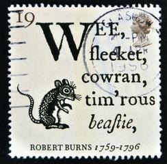 """Robert Burns Bicentenary stamp """"19p To a Mouse"""""""