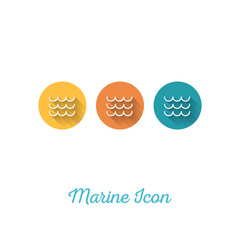 Wave Marine Flat Icon - Webdesign Element with Long Shadow