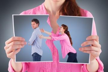 Composite image of woman trying to hug man