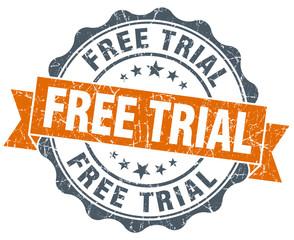 free trial orange vintage seal isolated on white