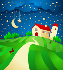 Night landscape with farm and starry sky