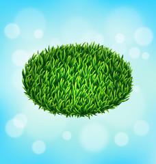 Green grass oval on sky background