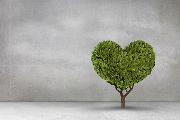 Composite image of heart shaped plant