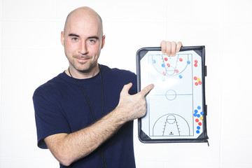 A instructor men over a white background