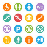 Vector white public icons set on a color circle poster