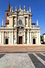 busto arsizio     the old   church  closed brick tower italy  lo