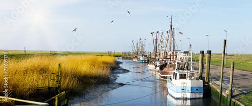 Leinwandbild Motiv Kutterhafen in Friesland