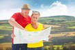 Composite image of lost tourist couple using map