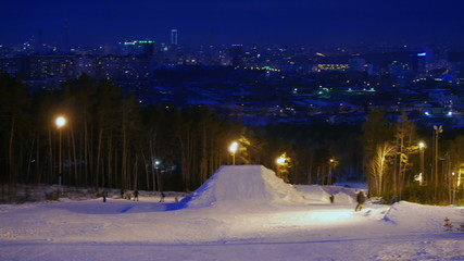 Ski slope. Night. Russia, Ekaterinburg