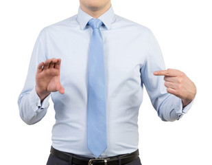businessman holding invisible objects
