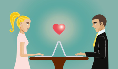 Two person dating online.