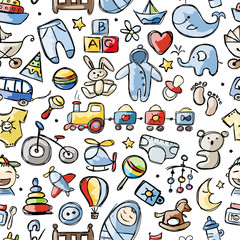 Toys for baby boy, seamless pattern for your design