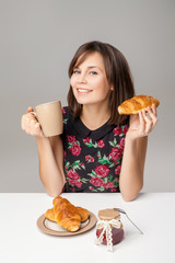 Healthy Young Woman With Breakfast
