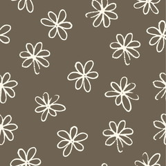 chamomile pattern on a brown background vector