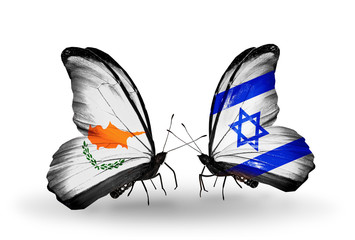 Two butterflies with flags Cyprus and Israel