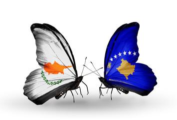 Two butterflies with flags Cyprus and Kosovo
