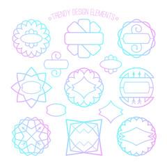 Set of outline emblems and badges