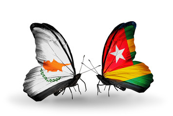 Two butterflies with flags Cyprus and Togo