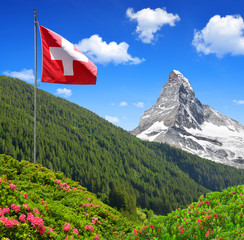 Views of the Matterhorn with Swiss flag - Swiss Alps