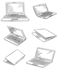 laptop drawings vector set