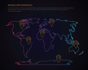 World infographic vector map