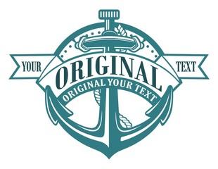 time anchor ribbon emblem.
