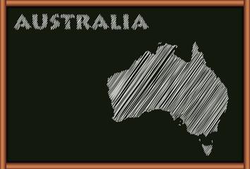Blackboard with the Map of Australia