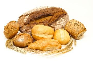 Backwaren, Brot, Brötchen und Getreide freigestellt
