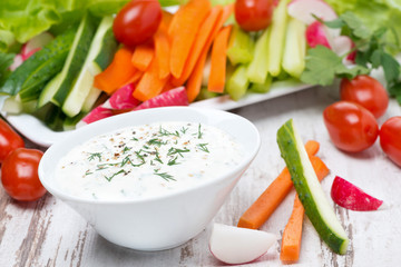 yoghurt sauce with mustard and fresh vegetables