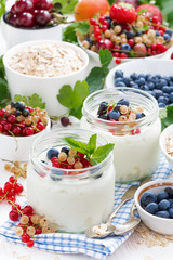 yogurt with berries and products for healthy breakfast, vertical