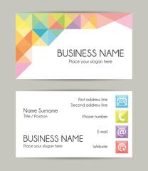 Business card. Flat design. Front and back set VII.