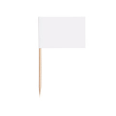 paper white flag.Isolated on white background
