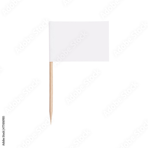 paper white flag.Isolated on white background - 77616980